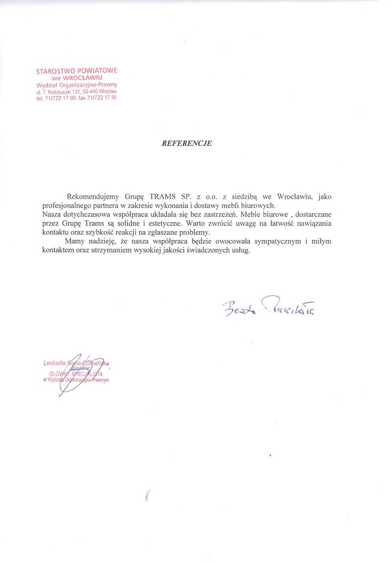 Rekomendujemy Grupę Trams z siedzibą we Wrocławiu jako profesjonalnego partnera w zakresie wykonania i dostawy mebli biurowych