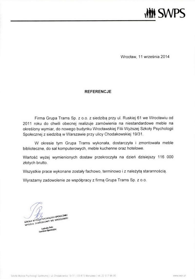 Firma Grupa Trams Sp. z o.o. z Wrocławia od 2011 roku do chwili obecnej realizuje zamówienia na niestandardowe meble na określony wymiar