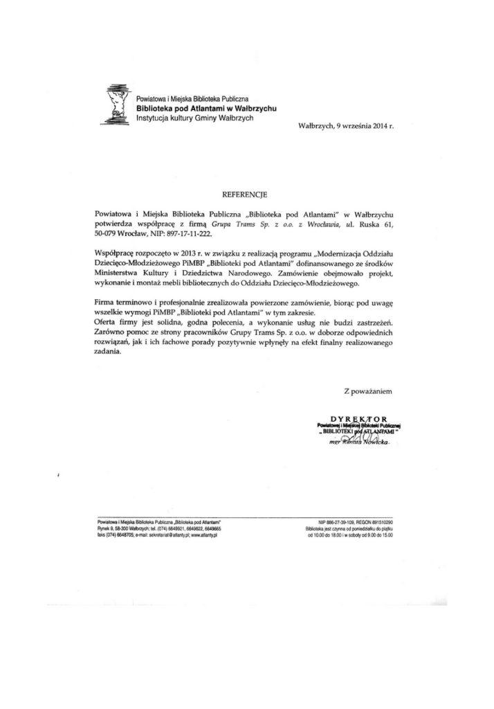 """Powiatowa i Miejska Biblioteka Publiczna """"Biblioteka pod Altanami"""" w Wałbrzychu potwierdza współpracę z firmą Grupa Trams"""