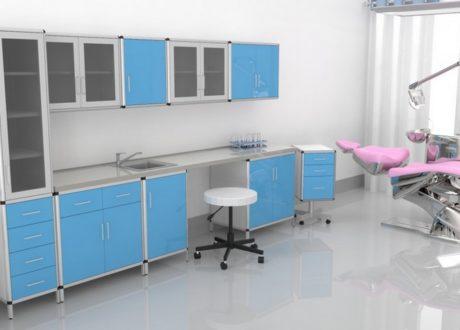 Meble medyczne. Meble do szpitali. Meble do przychodni. W skład zestawu mebli wchodzi: szafki, szafy, stolik, biurko, aneks kuchenny, krzesła, fotele - Alfa