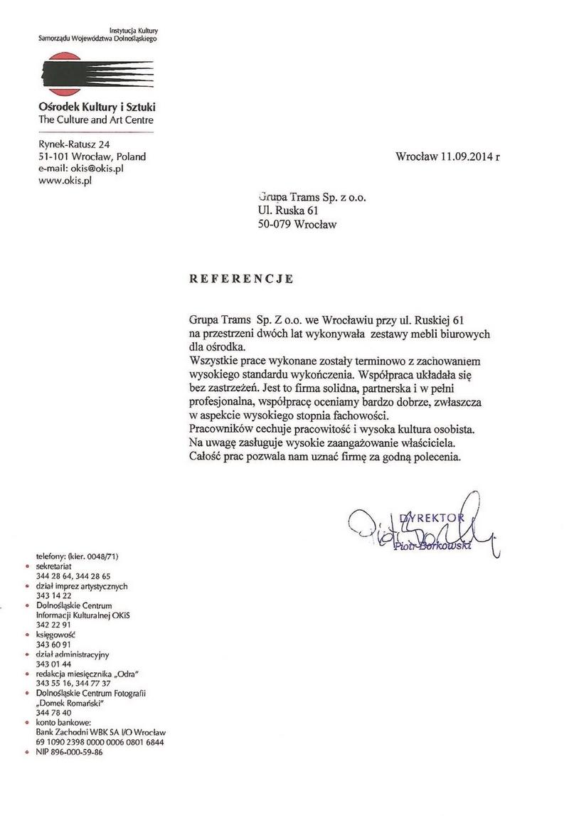 Grupa Trams Sp. z o.o. we Wrocławiu na przestrzeni dwóch lat wykonała zestawy mebli biurowych dla ośrodka